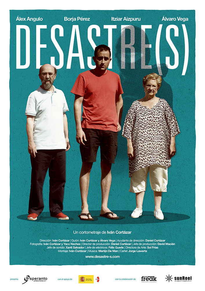 Poster of the Short Film Desastre(s)- featuring two men and a senior woman standing in front of a sillhuette of a man in a mask