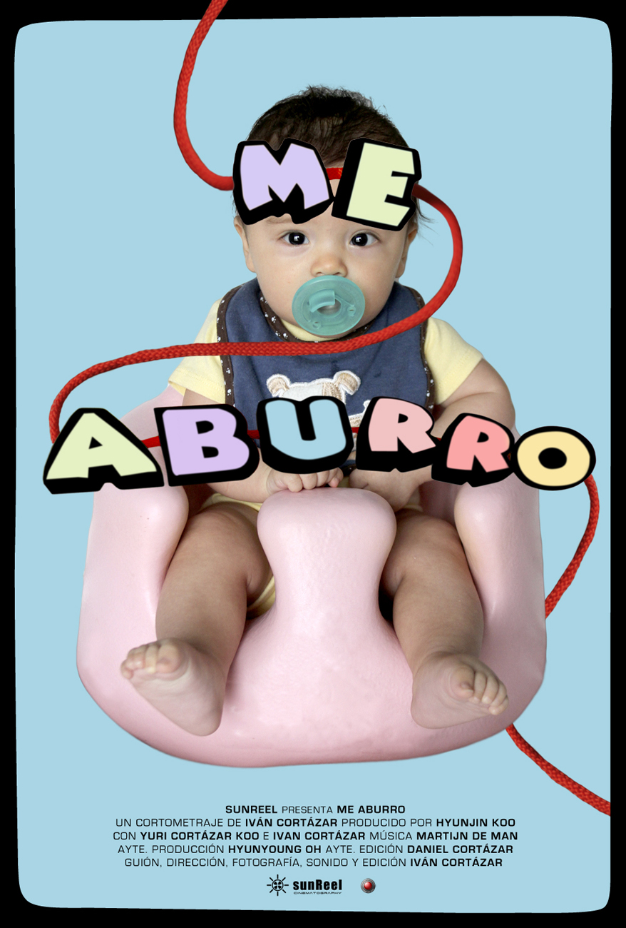 Poster for the short film Me Aburro featuring a kid sitting on a fluffy pink seat and the words Me Aburro on him