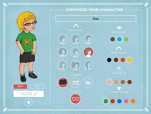 Menu of You and the Flying Squid app with buttons with different options and a drawing of a child