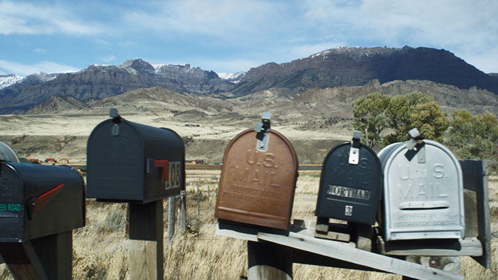 Mailboxes in Wyoming landscape