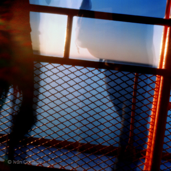 A pinhole photograph of a people on a ferry