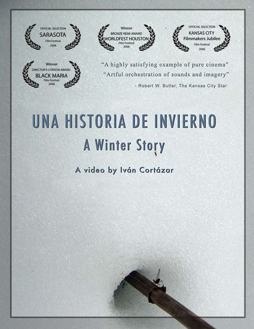Poster for the Short Film Una Historia de Invierno featuring  a brand with a bug on a snow field, above the title and Laurels