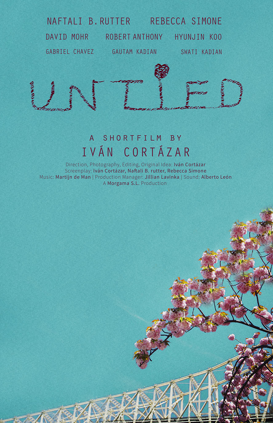 Poster for the shortfall Untied displaying a blue sky with a bridge and cherry blossoms. The credits and title above