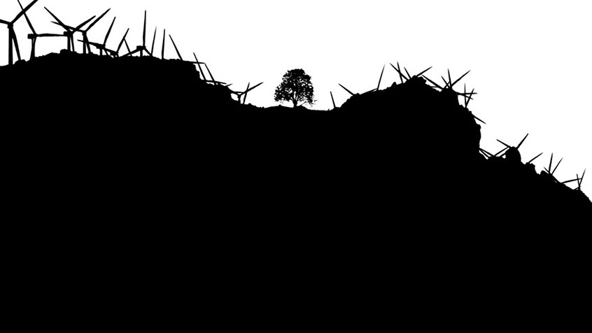A back and white silhouette of a tree surrounded by windmills