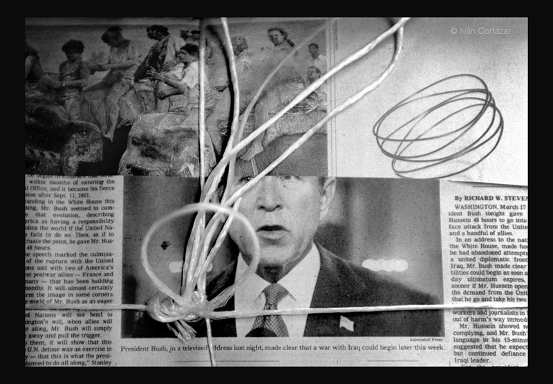 A black and white photo of a newspaper with Bush mixed with images of people riding elephants.